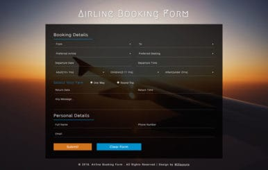 Airline Booking Form a Responsive Widget Template
