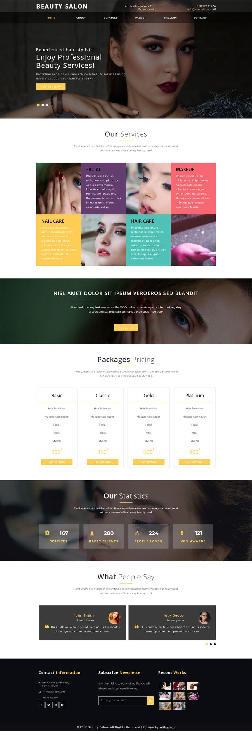 Beauty Salon is a Beauty & Spa Bootstrap Responsive Website Template. This Free web template works best for Beauty Salons, Spas & other similar websites.