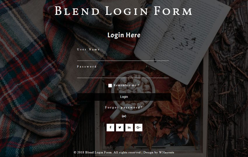 Blend Login Form Flat Responsive Widget Template