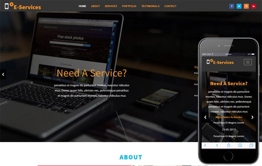 E Services Business Category Bootstrap Responsive Web Template