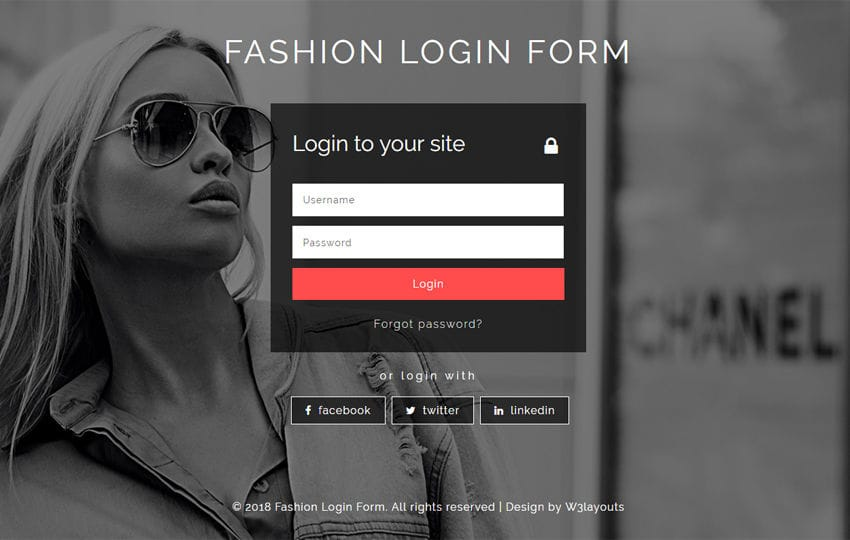 Fashion Login Form Flat Responsive Widget Template