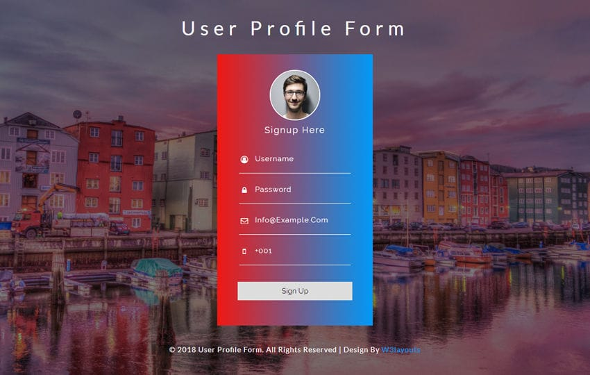 User Profile Form Responsive Widget Template