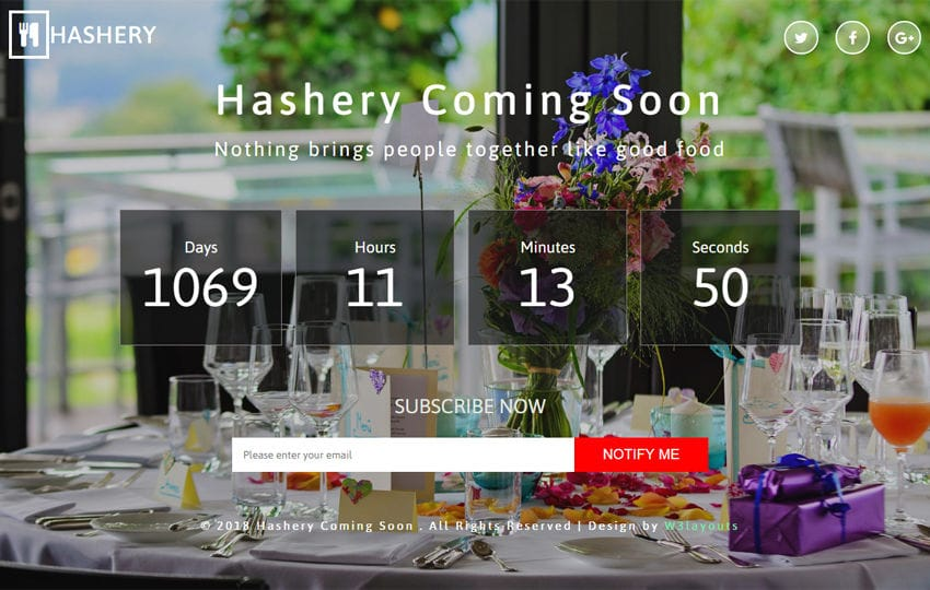 Hashery Coming Soon Responsive Widget Template