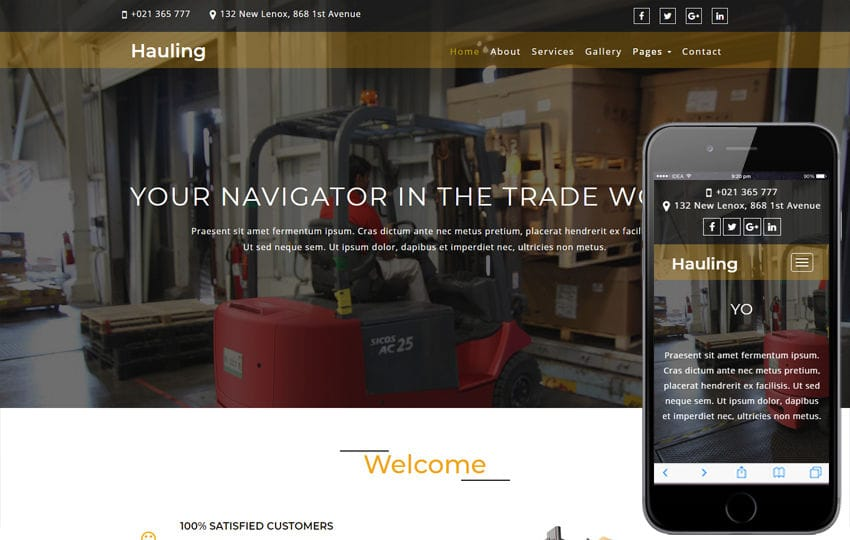 Hauling Transportation Category Bootstrap Responsive Web Template