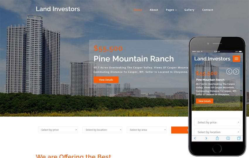 Land Investors Real Estates Category Bootstrap Responsive Web Template