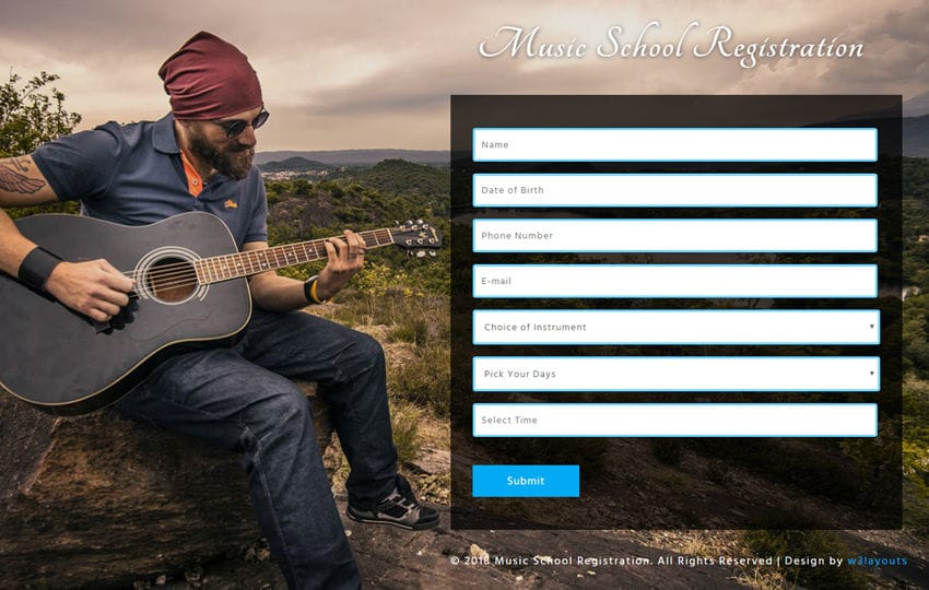 Music School Registration Responsive Widget Template