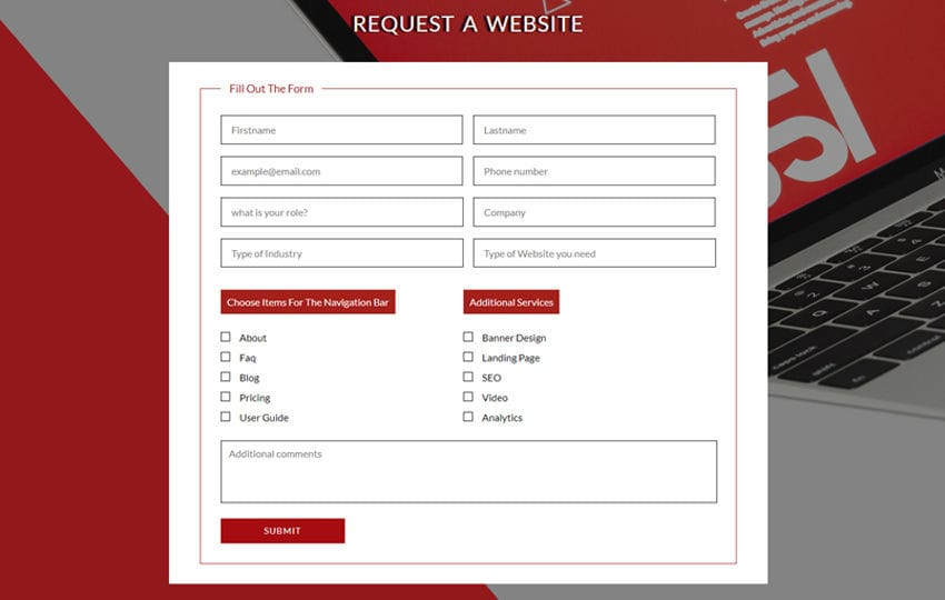 Request a Website Flat Responsive Widget Template