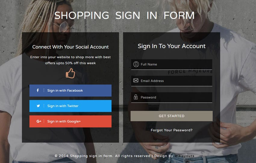 Shopping Sign in Form a Flat Responsive Widget Template