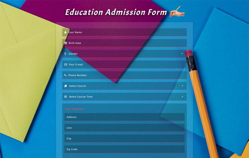 Admission Form – Application Form Template