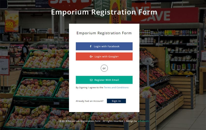 Emporium Registration Form Responsive Widget Template