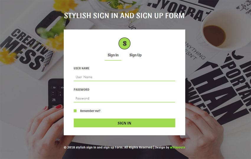 Stylish Sign in and Signup Form Responsive Widget Template