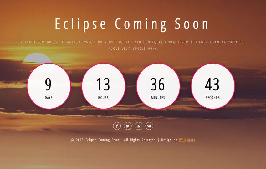 Eclipse Coming Soon Flat Responsive Widget Template