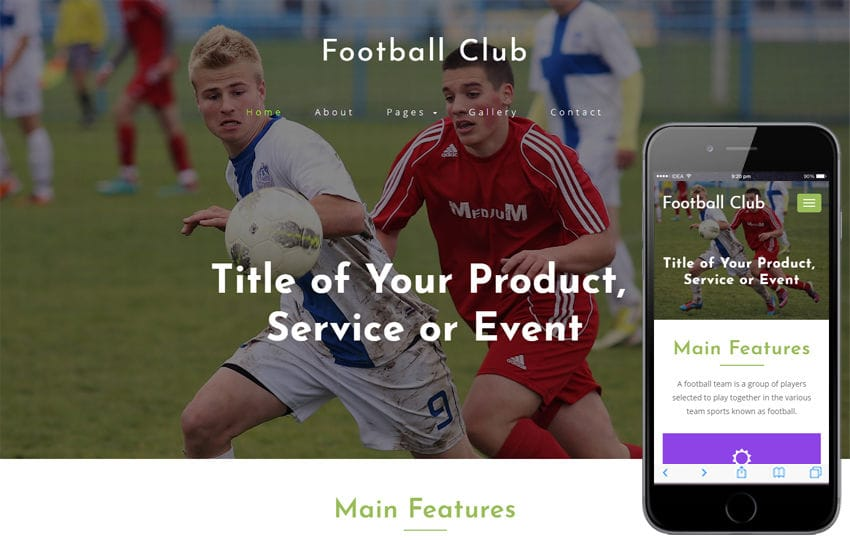 Football Club Sports Category Bootstrap Responsive Web Template