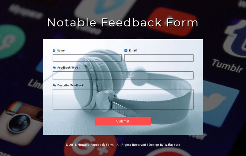Notable Feedback Form Responsive Widget Template