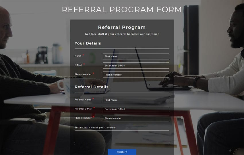 Referral Program Form Responsive Widget Template
