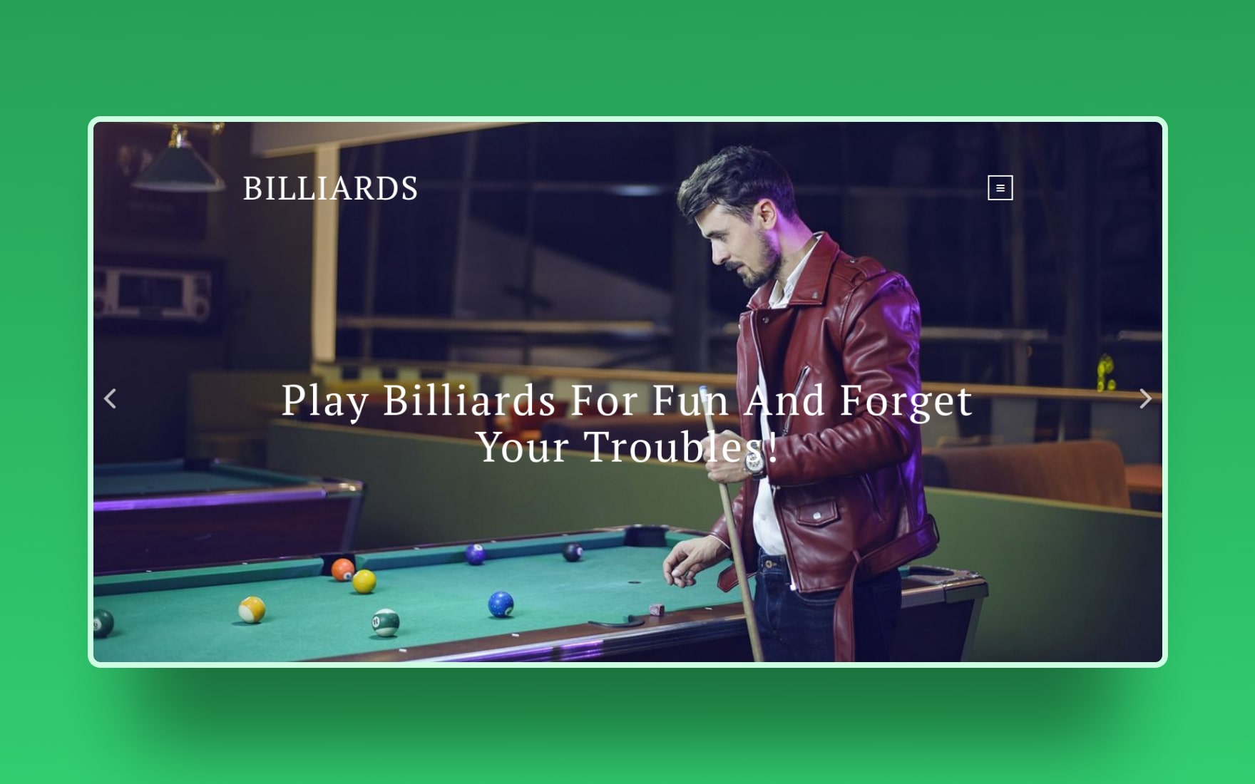 Billiards Sports Category Bootstrap Responsive Web Template
