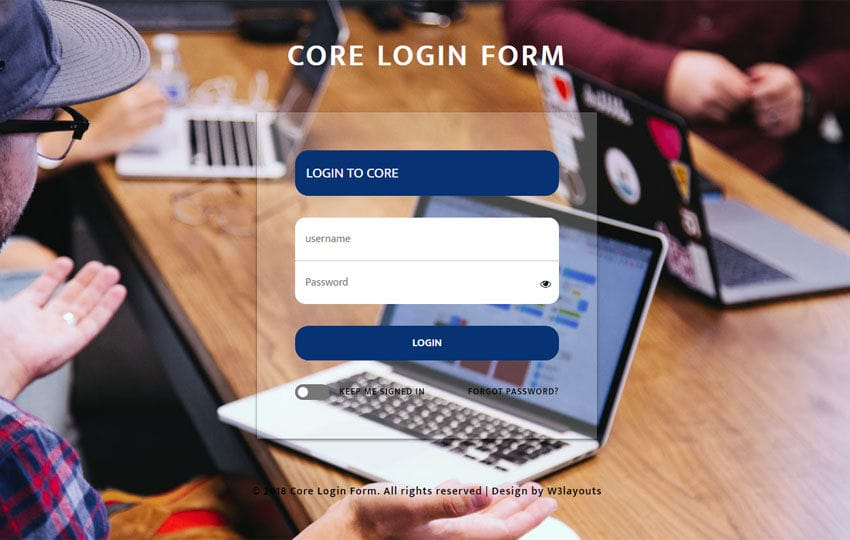 Core Login Form Flat Responsive Widget Template
