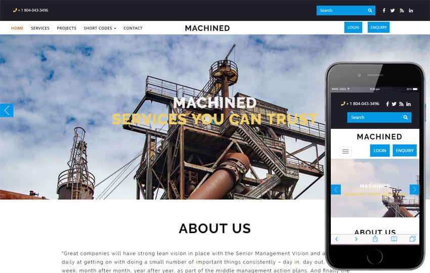 Machined Industrial Category Bootstrap Responsive Web Template
