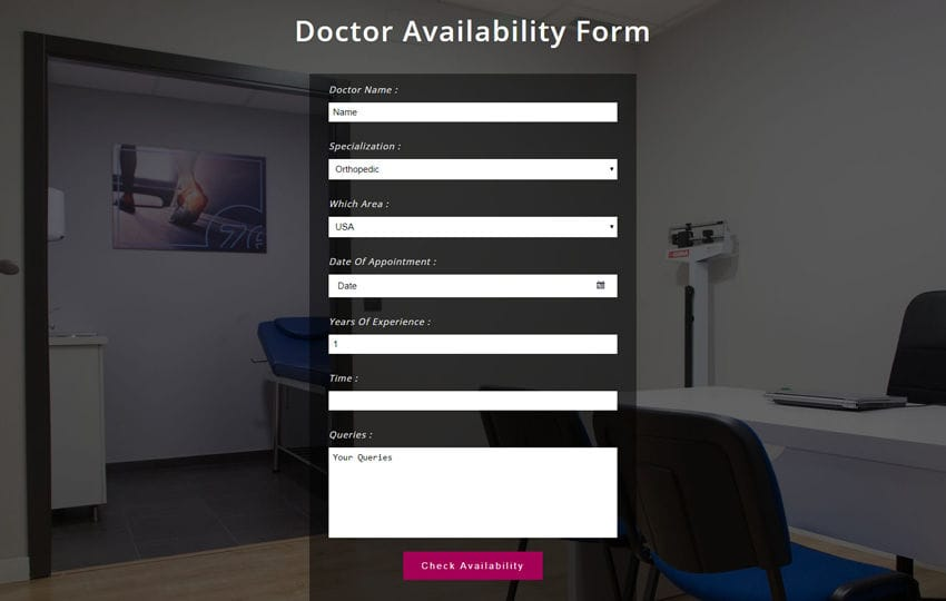 Doctor Availability Form Responsive Widget Template