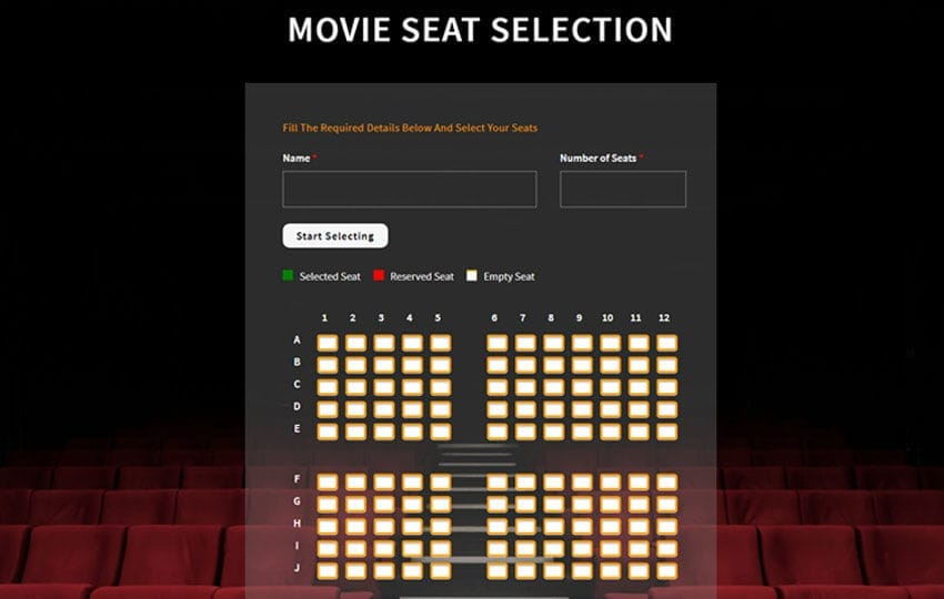 Movie Seat Selection – Flat Responsive Widget Template