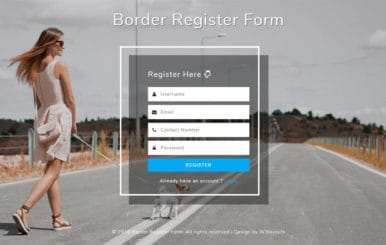 Border Register Form Flat Responsive Widget Template