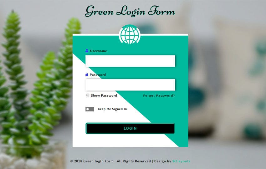 Green Login Form Flat Responsive Widget Template