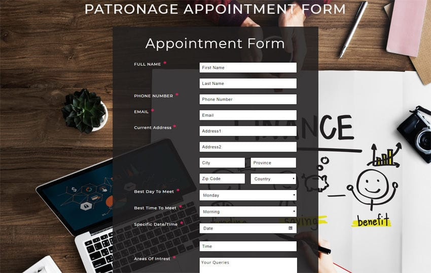 Patronage Appointment Form Responsive Widget Template