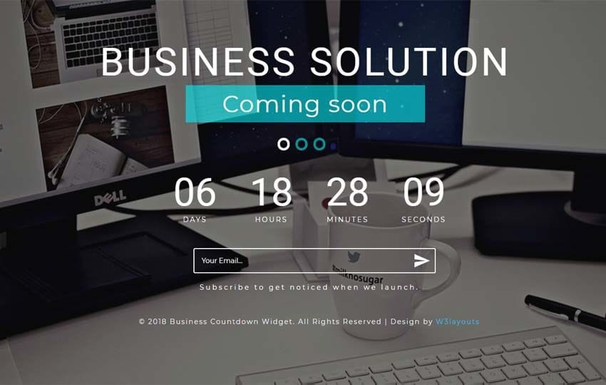 Business Countdown Flat Responsive Widget Template