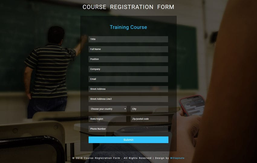 Course Registration Form Flat Responsive Widget Template