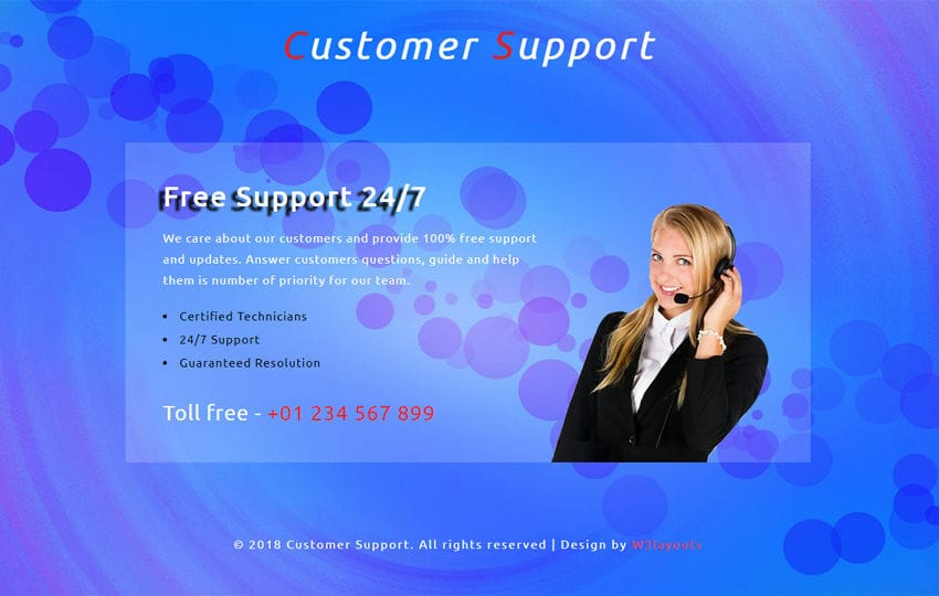 Customer Support Responsive Widget Template