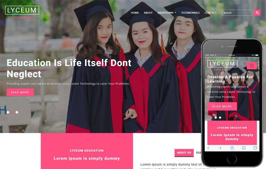 Lyceum Educational Category Bootstrap Responsive Web Template