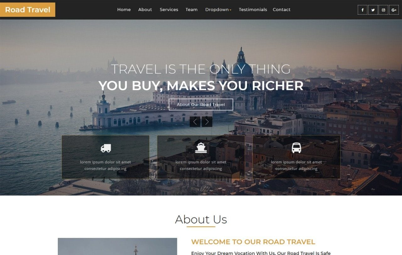 Road Travel – Travel Category Bootstrap Responsive Web Template