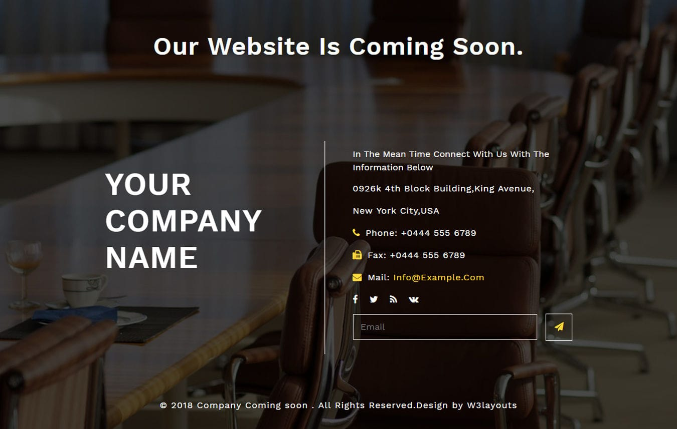 Company Coming Soon Flat Responsive Widget Template