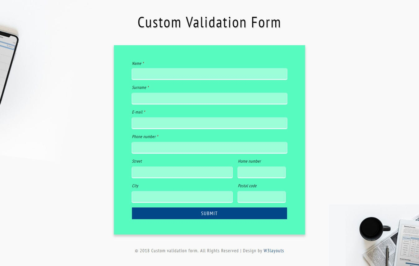 Custom Validation Form Flat Responsive Widget Template
