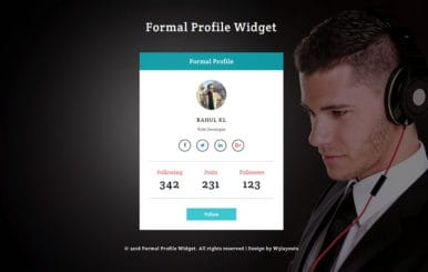 Formal Profile Widget Flat Responsive Widget Template