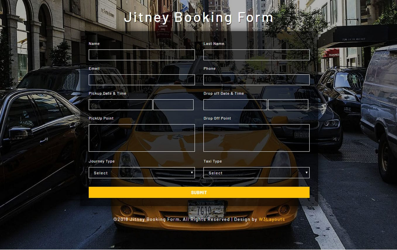 Jitney Booking Form a Flat Responsive Widget Template