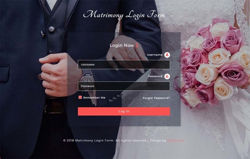 Matrimony Login Form Responsive Widget Template