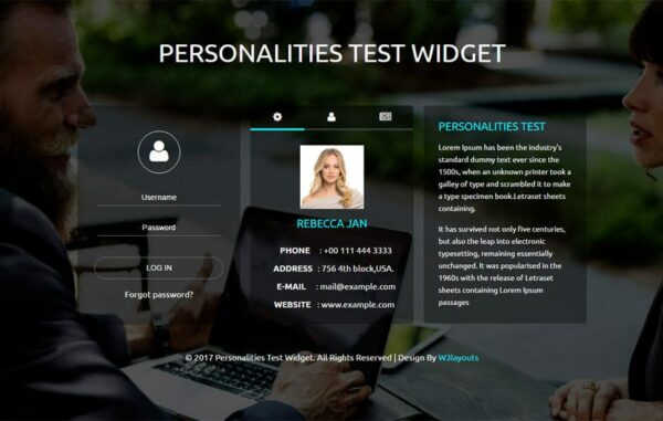 Personalities test widget