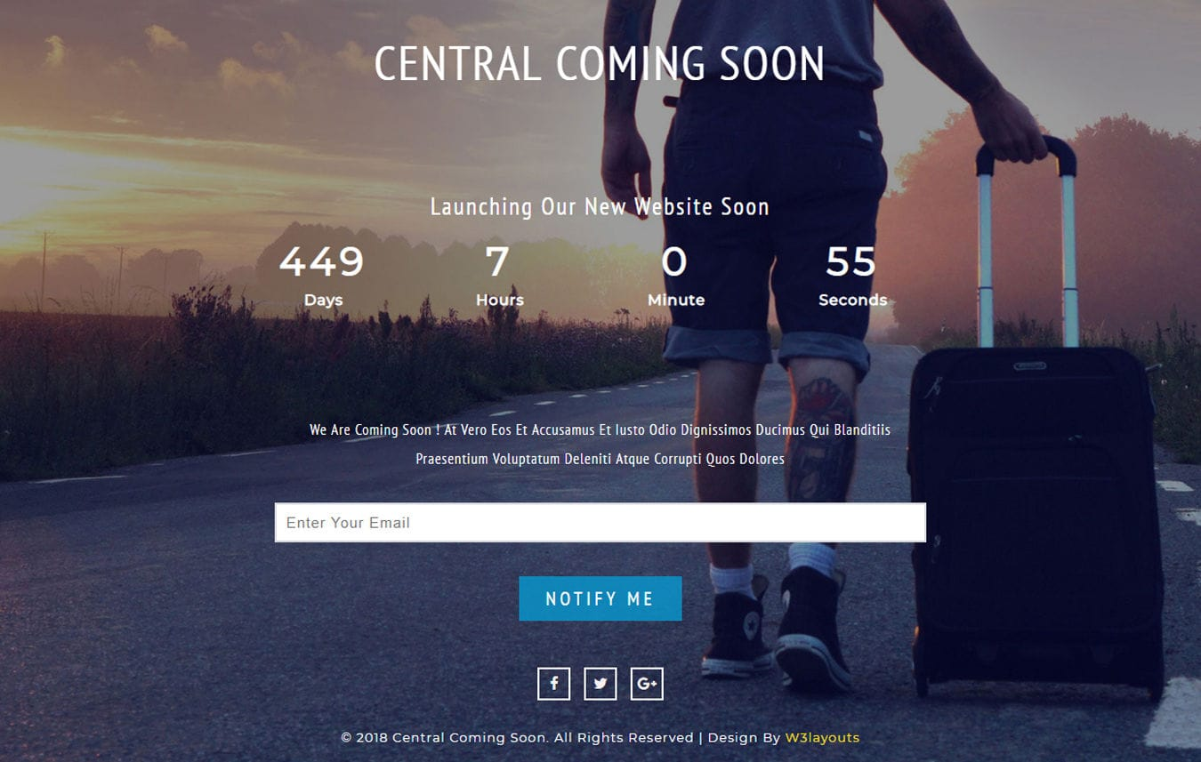 Central Coming Soon Responsive Widget Template