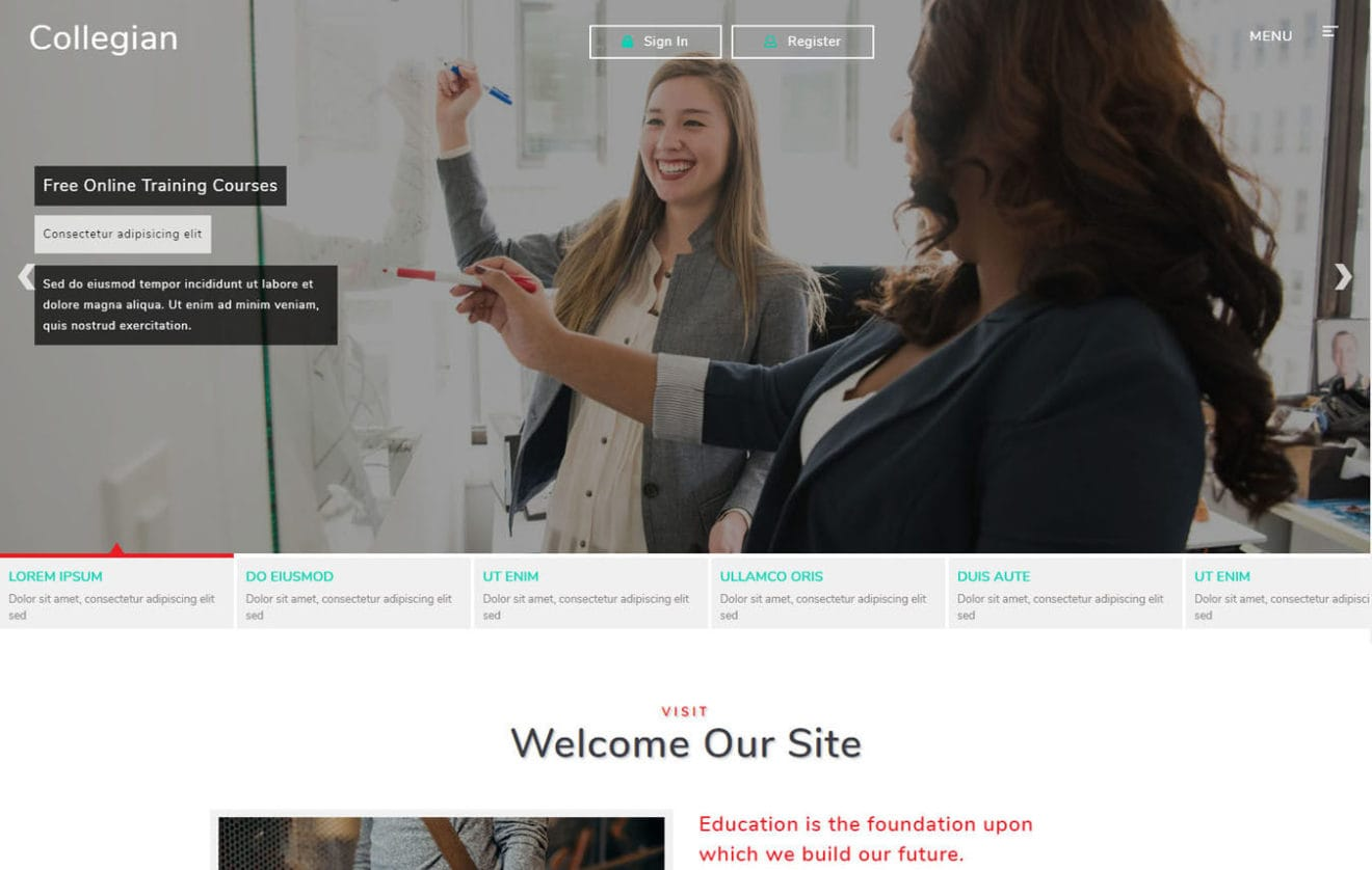 Collegian Education Category Bootstrap Responsive Web Template.