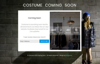 Costume Coming Soon Responsive Widget Template