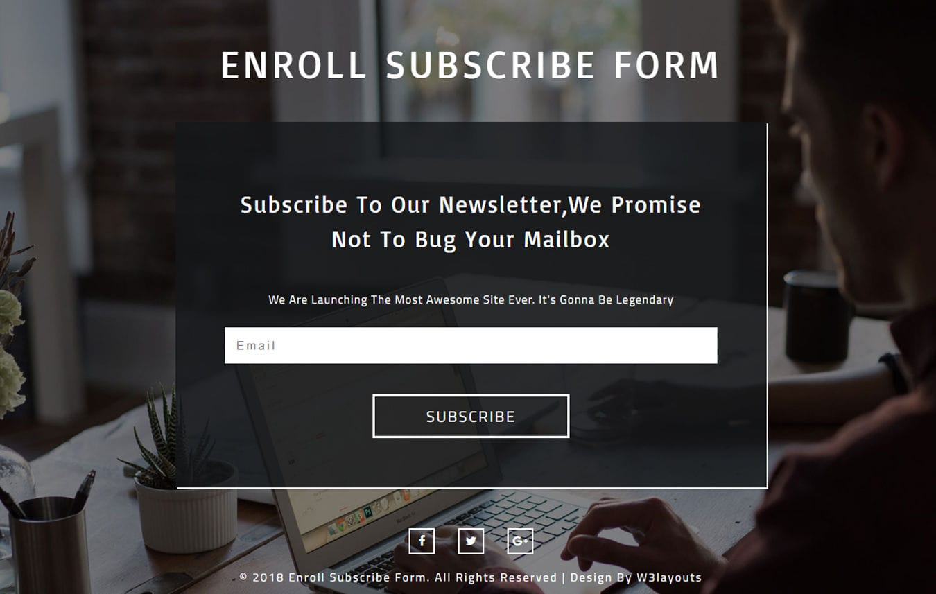 Enroll Subscribe Form Responsive Widget Template