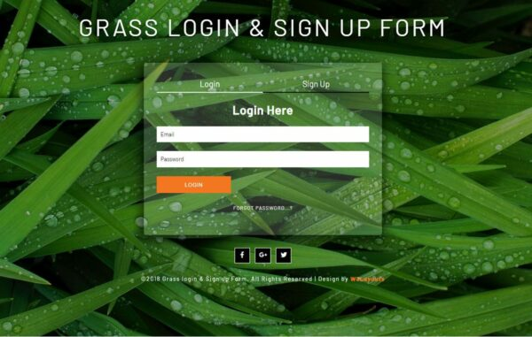 Grass Login & Sign Up Form