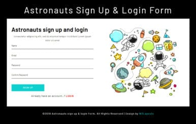 Astronauts Sign Up & Login Form a Flat Responsive Widget Template