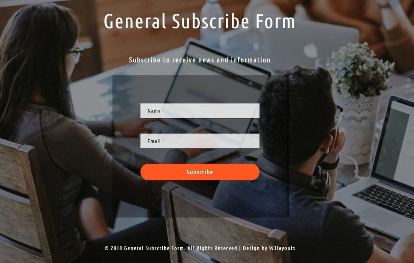 General Subscribe Form Flat Responsive Widget Template.