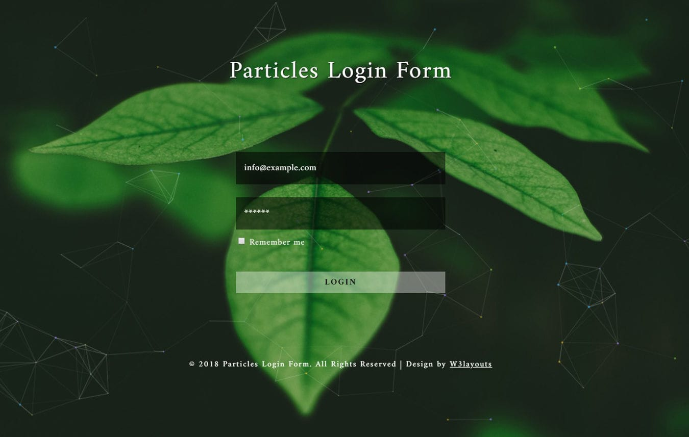 Particles Login Form Flat Responsive Widget Template.