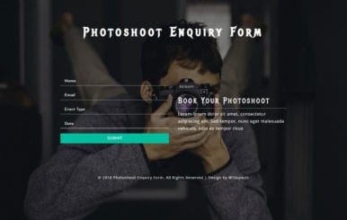 Photo Shoot Enquiry Form Responsive Widget Template