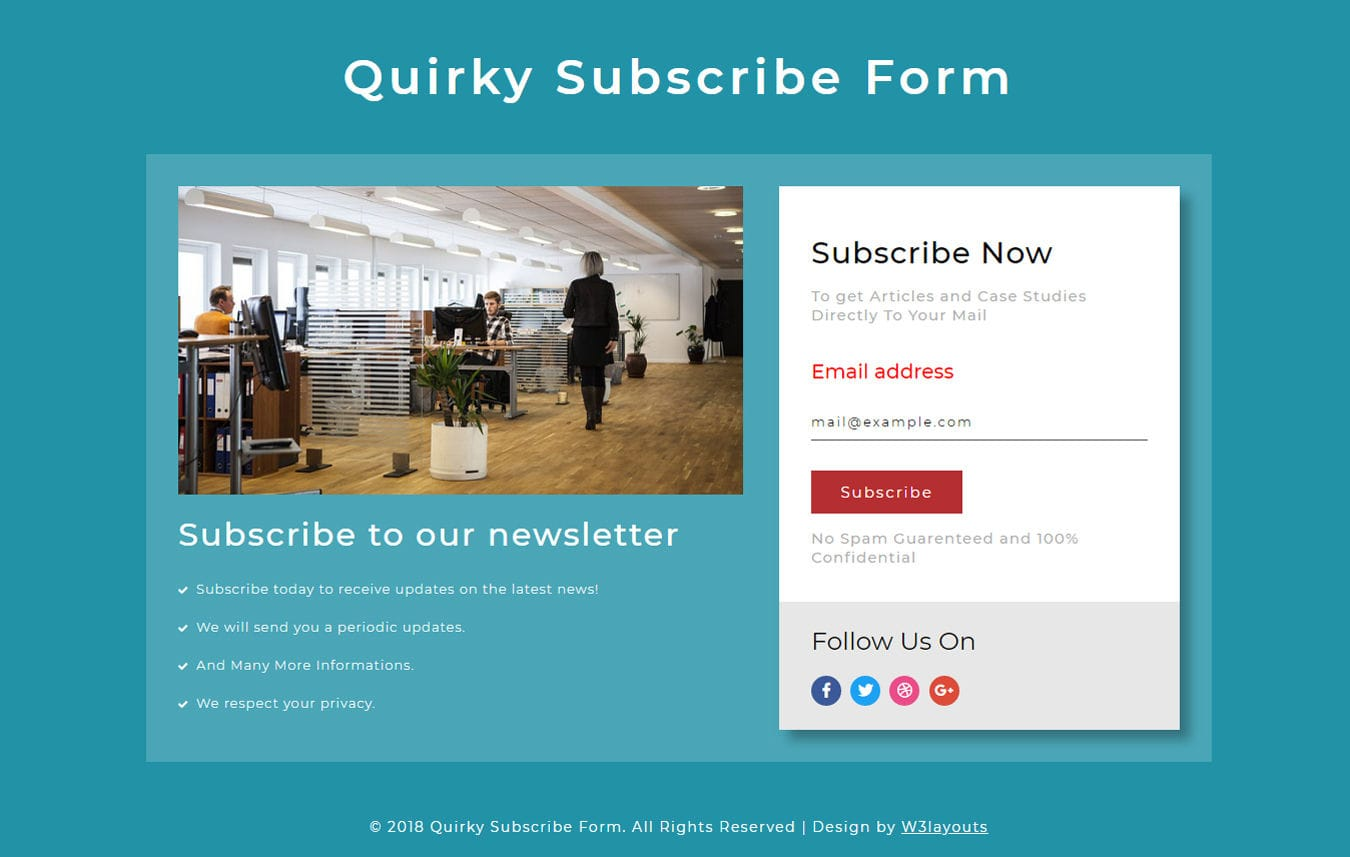 Quirky Subscription Form Responsive Widget Template