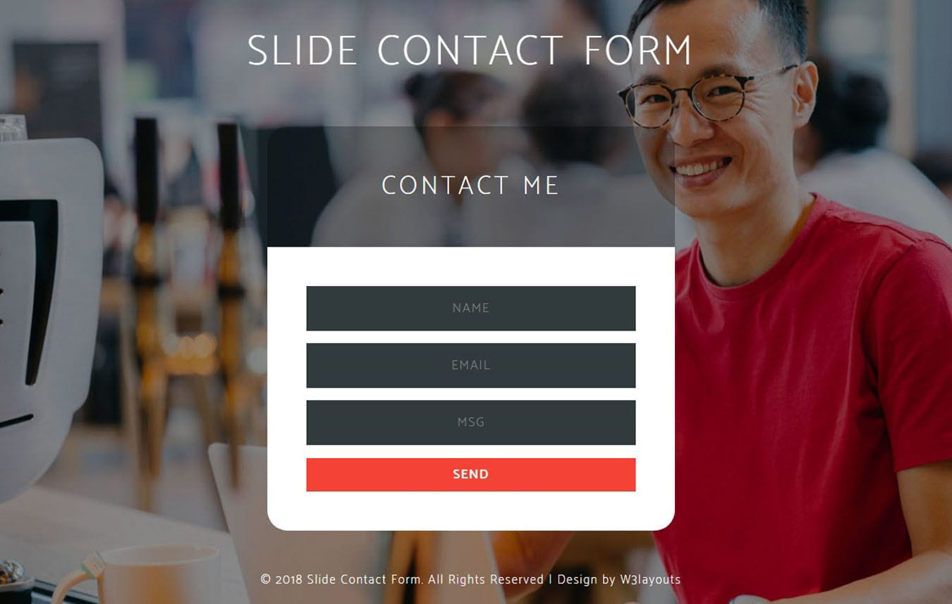 Slide Contact Form Flat Responsive Widget Template.