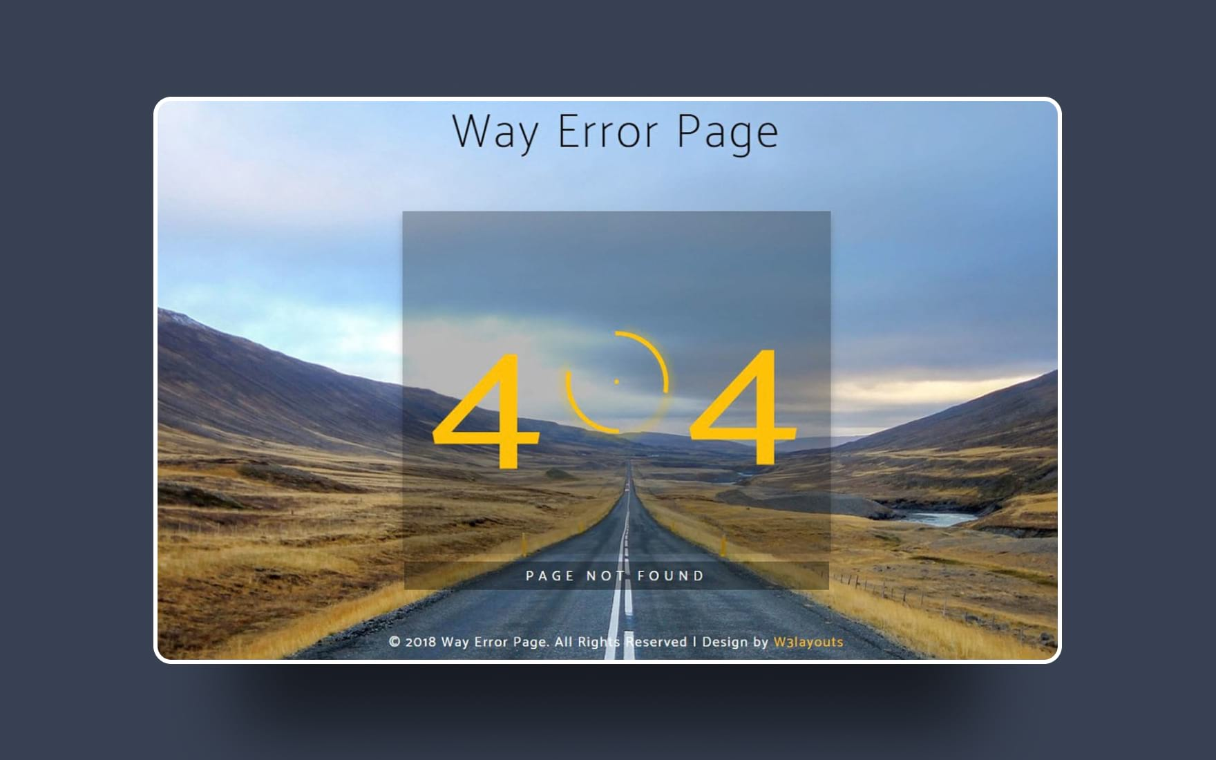 Way Error Page Flat Responsive Widget Template